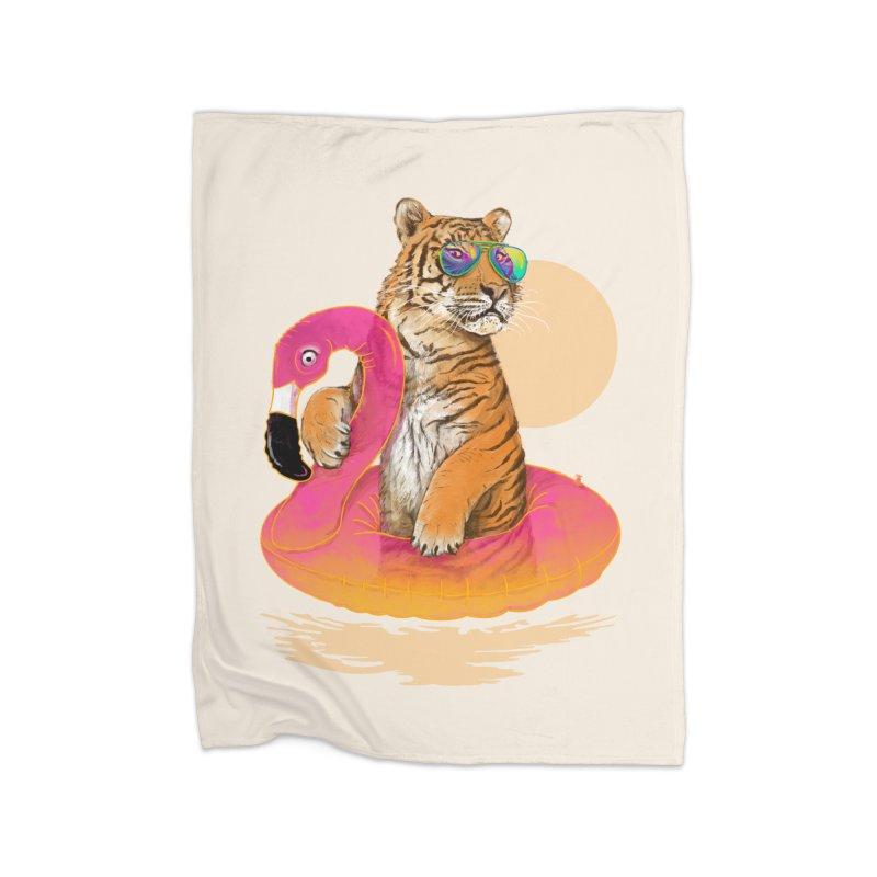 Chillin Flamingo Tiger Home Blanket by 38 Sunsets