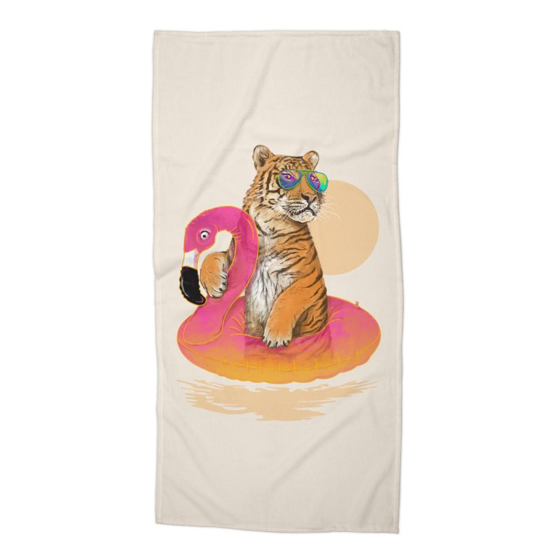 Chillin Flamingo Tiger Accessories Beach Towel by 38 Sunsets