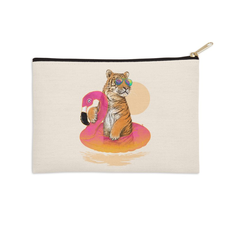 Chillin Flamingo Tiger Accessories Zip Pouch by 38 Sunsets