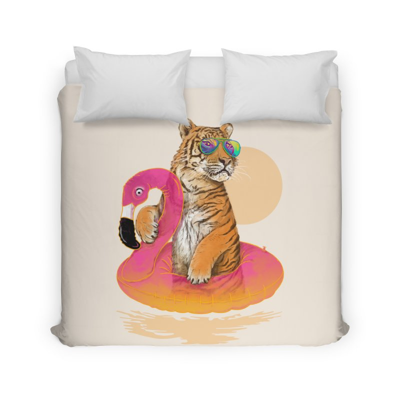 Chillin Flamingo Tiger Home Duvet by 38 Sunsets
