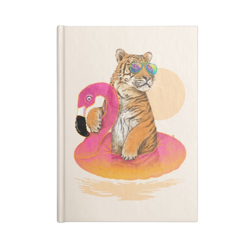 Chillin Flamingo Tiger Accessories Lined Journal Notebook by 38 Sunsets