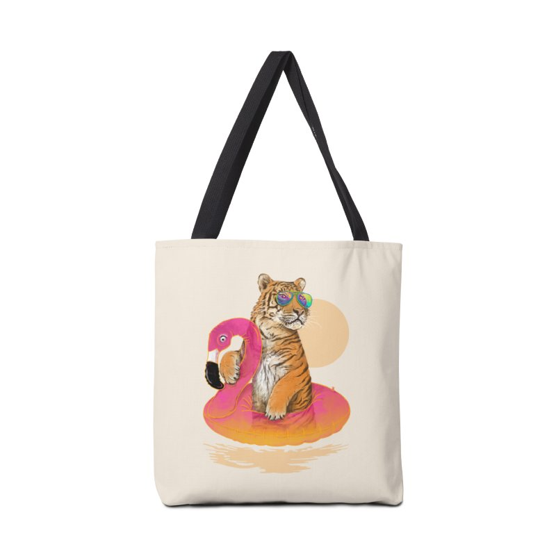 Chillin Flamingo Tiger Accessories Bag by 38 Sunsets