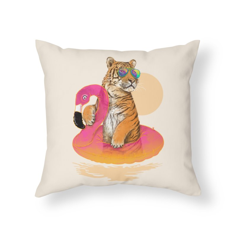 Chillin Flamingo Tiger Home Throw Pillow by 38 Sunsets