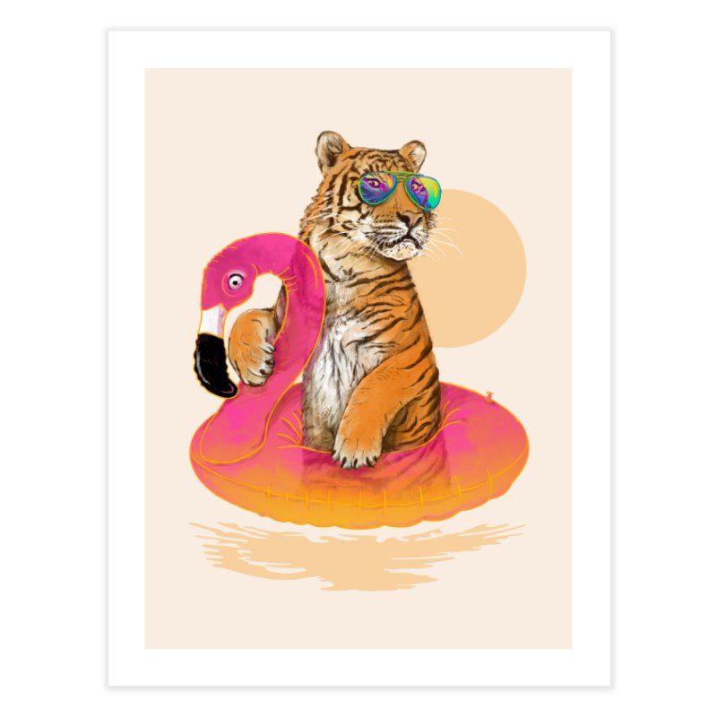 Chillin Flamingo Tiger Home Fine Art Print by 38 Sunsets