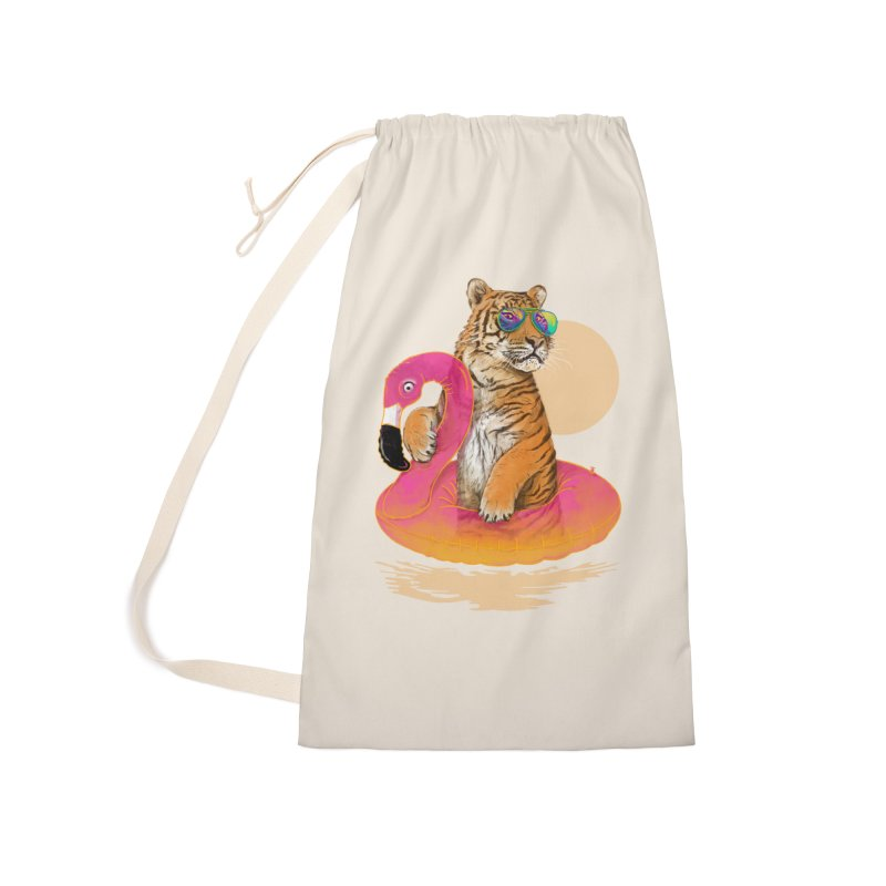 Chillin Flamingo Tiger Accessories Laundry Bag Bag by 38 Sunsets
