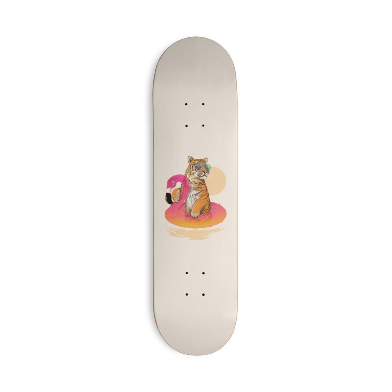 Chillin Flamingo Tiger Accessories Skateboard by 38 Sunsets