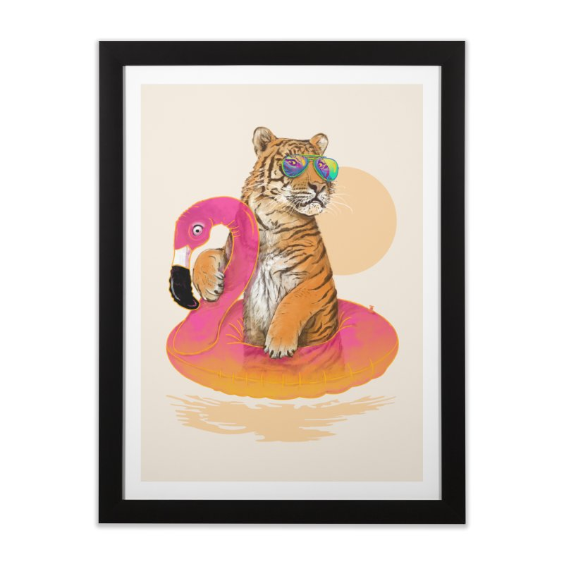 Chillin Flamingo Tiger Home Framed Fine Art Print by 38 Sunsets