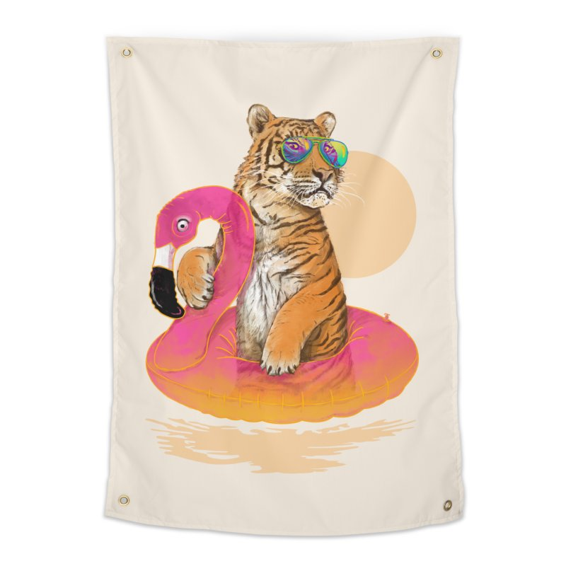 Chillin Flamingo Tiger Home Tapestry by 38 Sunsets