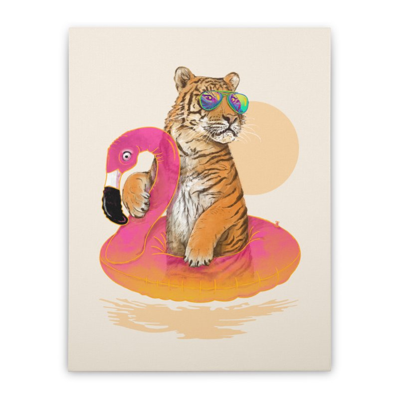 Chillin Flamingo Tiger Home Stretched Canvas by 38 Sunsets
