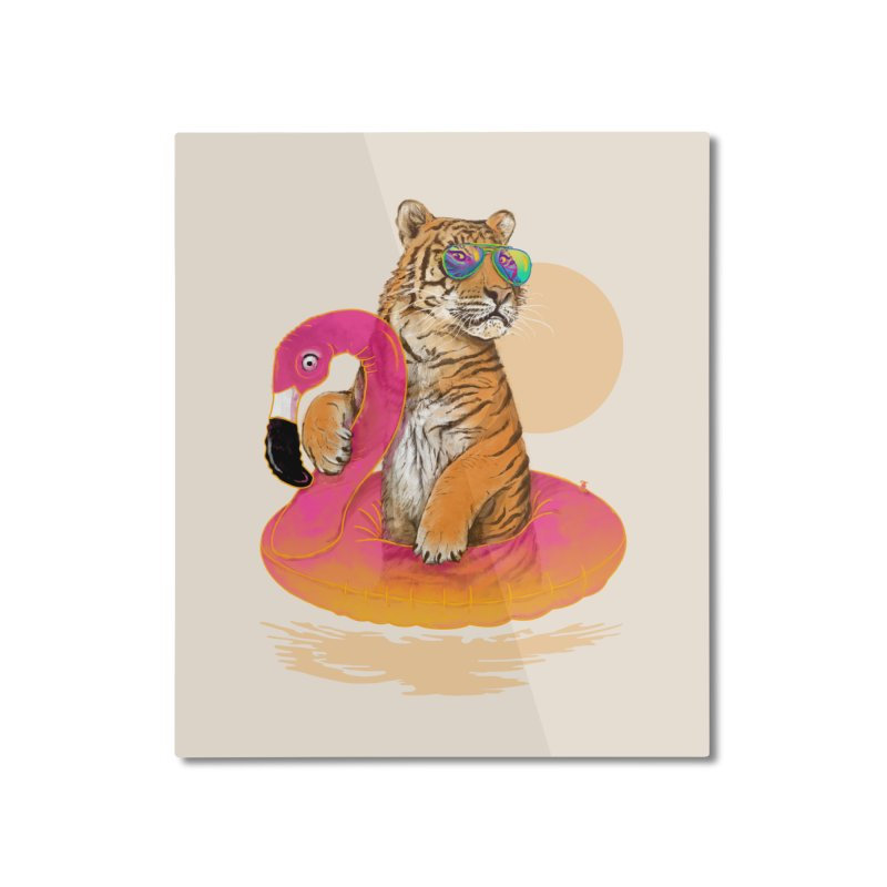 Chillin Flamingo Tiger Home Mounted Aluminum Print by 38 Sunsets