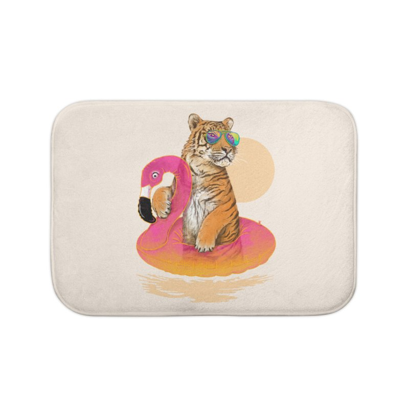 Chillin Flamingo Tiger Home Bath Mat by 38 Sunsets