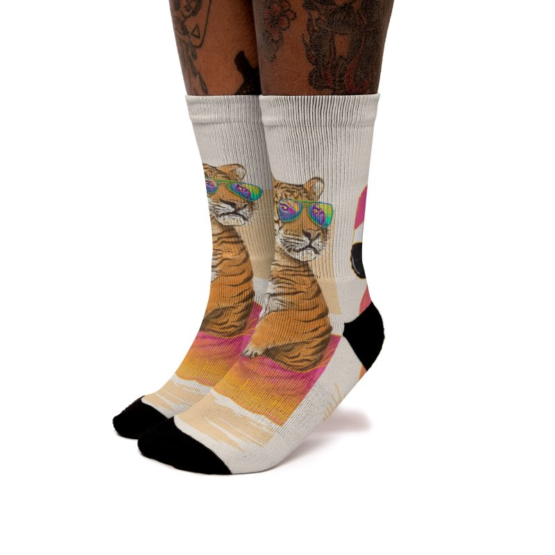 Chillin Flamingo Tiger Women's Socks by 38 Sunsets