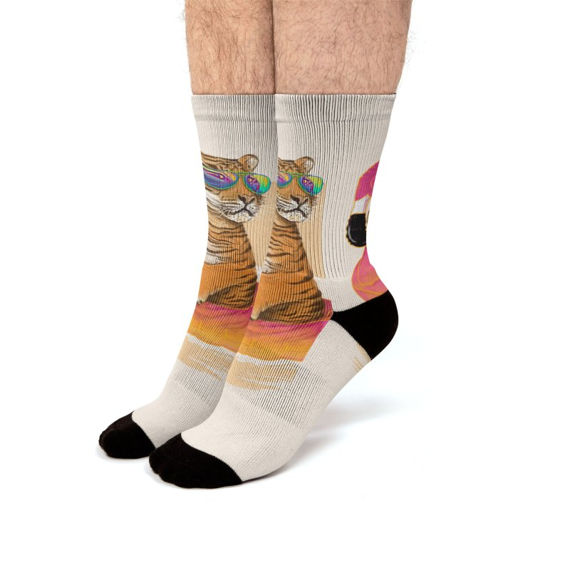 Chillin Flamingo Tiger Men's Socks by 38 Sunsets