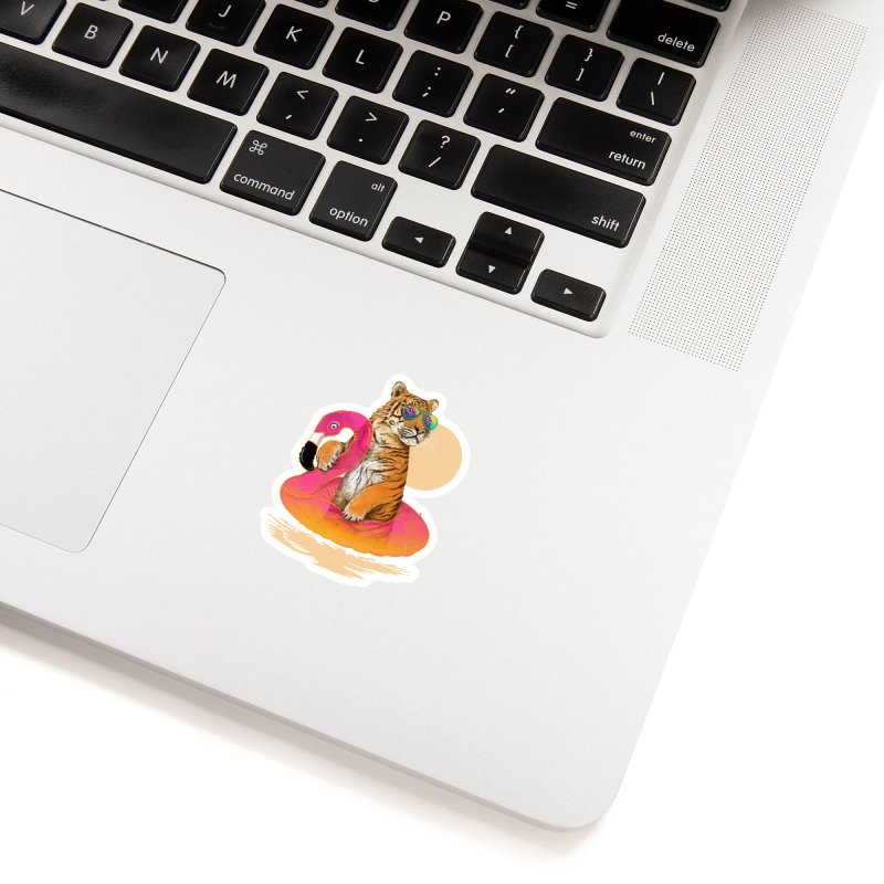 Chillin Flamingo Tiger Accessories Sticker by 38 Sunsets