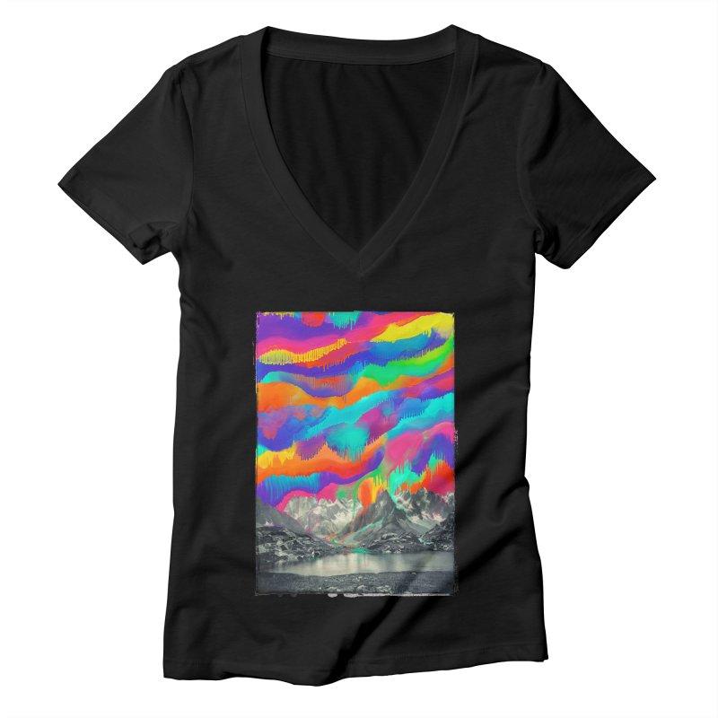 Skyfall, Melting Northern Lights Women's V-Neck by 38 Sunsets