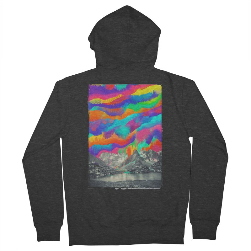 Skyfall, Melting Northern Lights Men's French Terry Zip-Up Hoody by 38 Sunsets