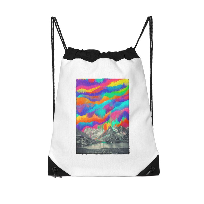 Skyfall, Melting Northern Lights Accessories Drawstring Bag Bag by 38 Sunsets