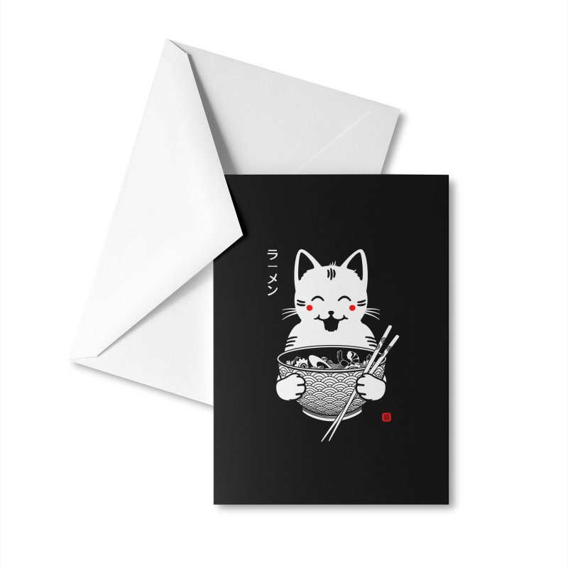 Happy Ramen Cat Accessories Greeting Card by 38 Sunsets