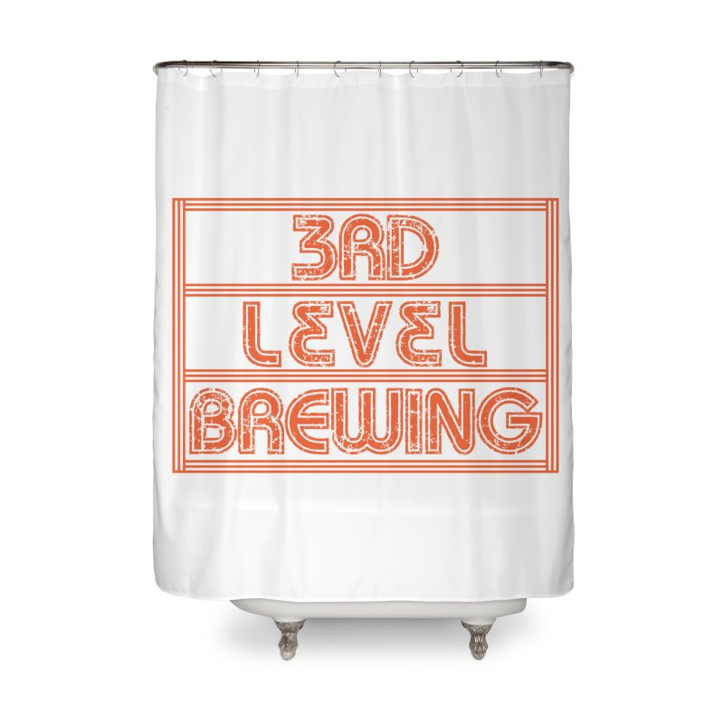 Orange Logo Home Shower Curtain by 3 Beers In's Artist Shop