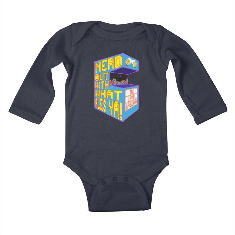 Arcade Classic Kids Baby Longsleeve Bodysuit by 3 Beers In's Artist Shop