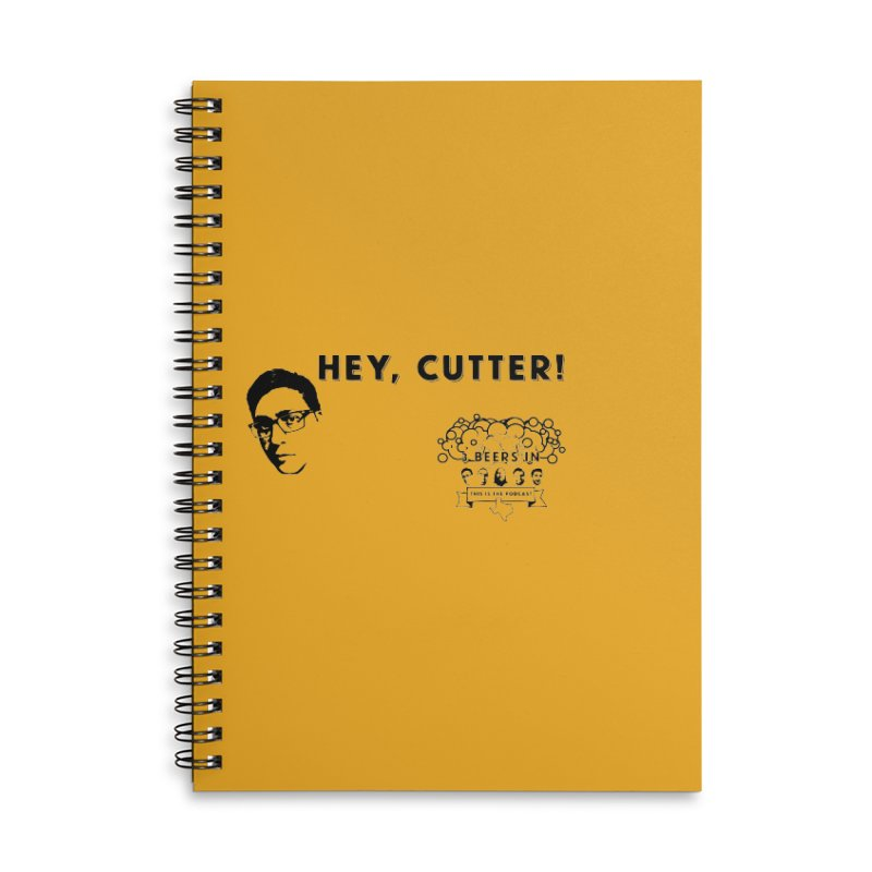 Hey, Cutter Accessories Lined Spiral Notebook by 3 Beers In's Artist Shop