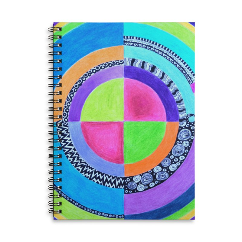 Meditation Mandala Accessories Lined Spiral Notebook by 3boysenberries