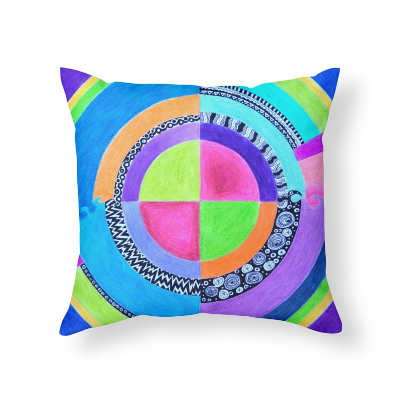 Meditation Mandala Home Throw Pillow by 3boysenberries