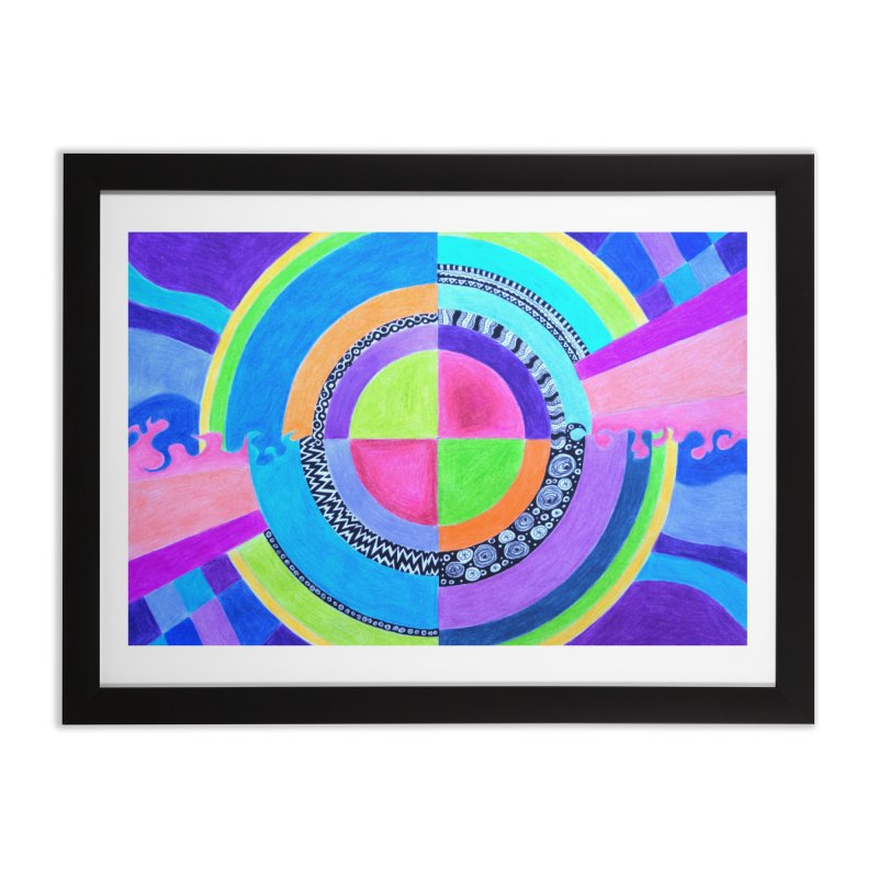 Meditation Mandala Home Framed Fine Art Print by 3boysenberries
