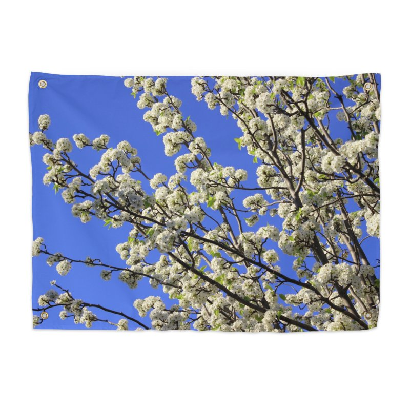Blue Sky Pear Blossom Home Tapestry by 3boysenberries