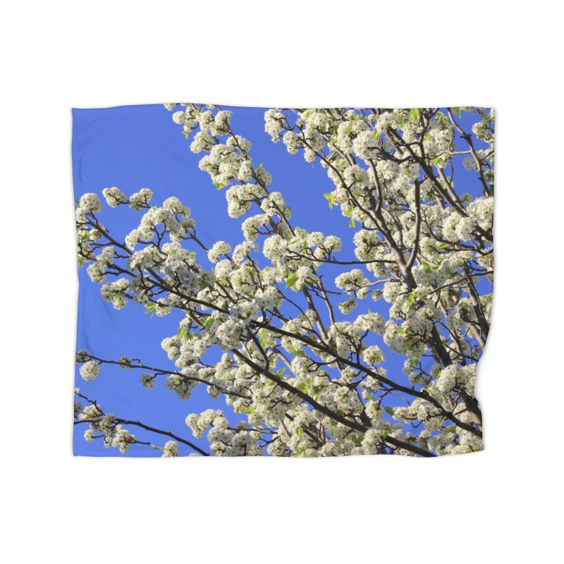 Blue Sky Pear Blossom Home Fleece Blanket Blanket by 3boysenberries