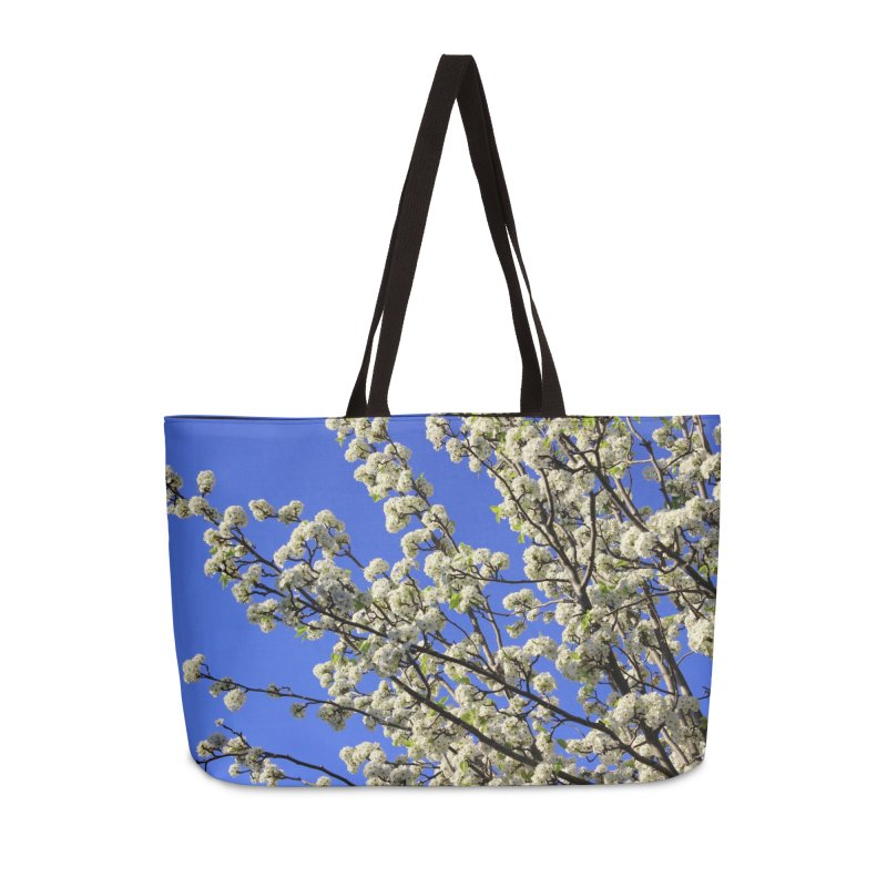 Blue Sky Pear Blossom Accessories Weekender Bag Bag by 3boysenberries