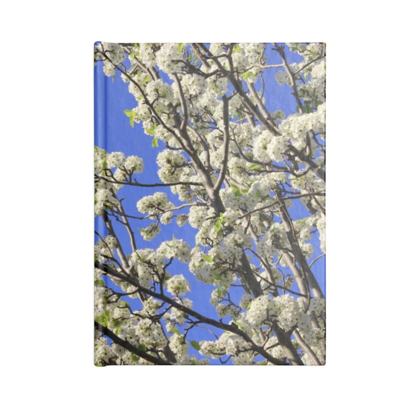 Blue Sky Pear Blossom Accessories Blank Journal Notebook by 3boysenberries