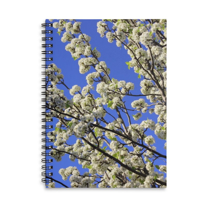 Blue Sky Pear Blossom Accessories Lined Spiral Notebook by 3boysenberries