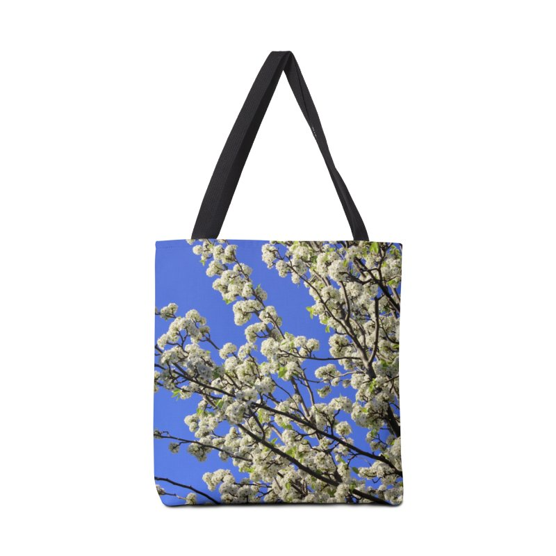 Blue Sky Pear Blossom Accessories Tote Bag Bag by 3boysenberries