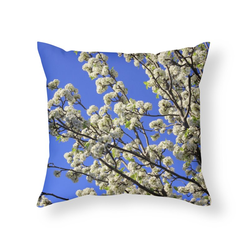 Blue Sky Pear Blossom Home Throw Pillow by 3boysenberries