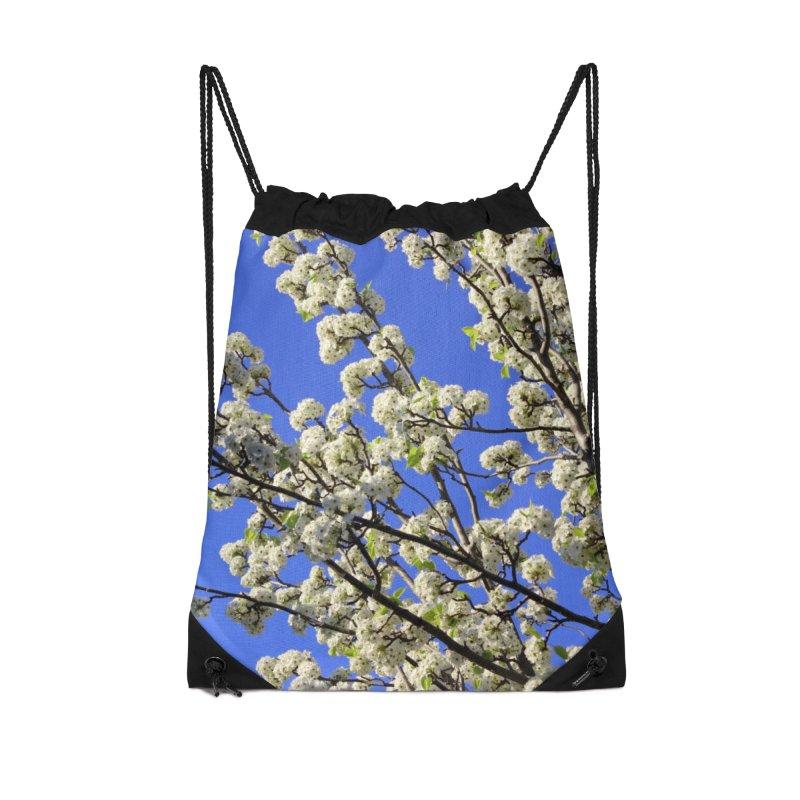 Blue Sky Pear Blossom Accessories Drawstring Bag Bag by 3boysenberries