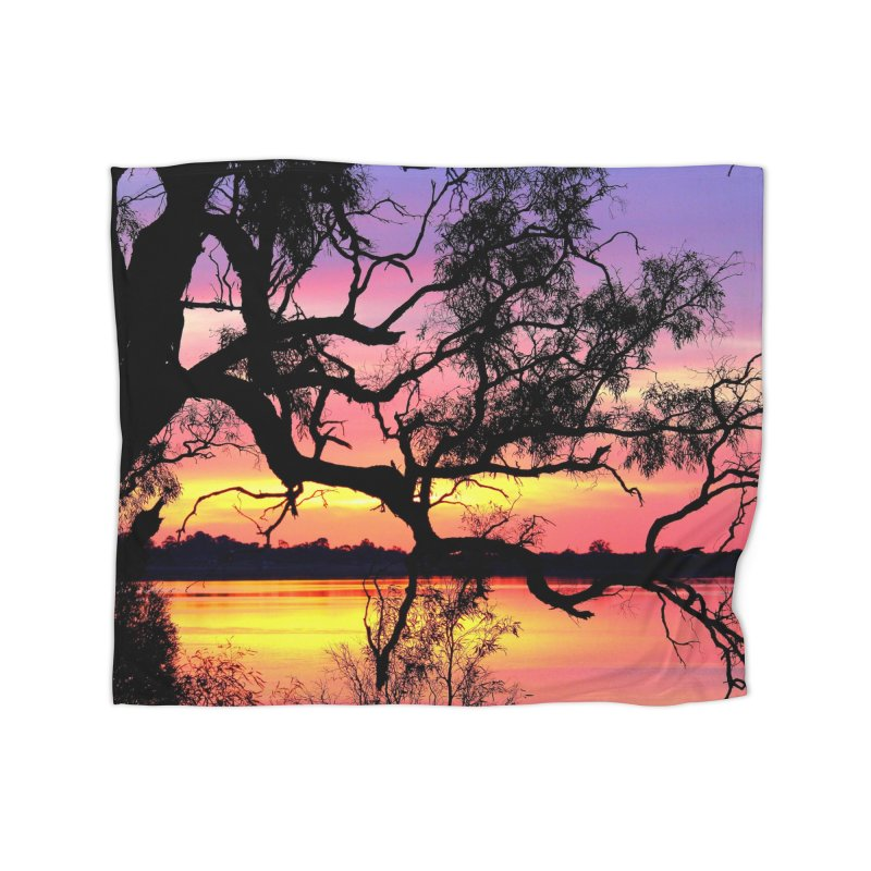 Lake Bonney Sunset Home Fleece Blanket Blanket by 3boysenberries