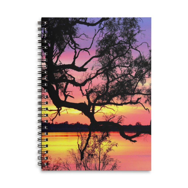 Lake Bonney Sunset Accessories Lined Spiral Notebook by 3boysenberries