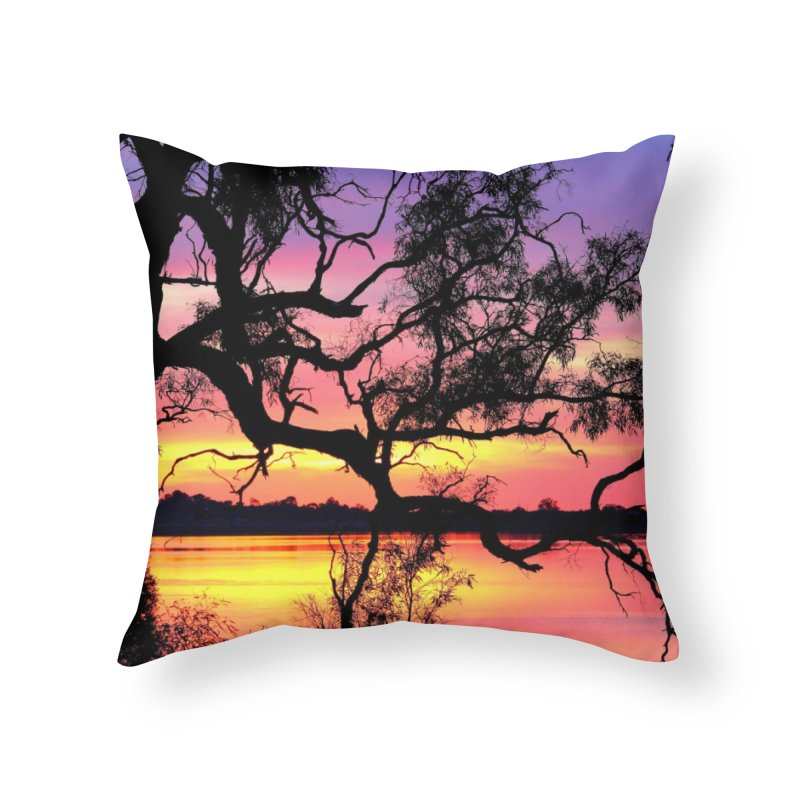 Lake Bonney Sunset Home Throw Pillow by 3boysenberries