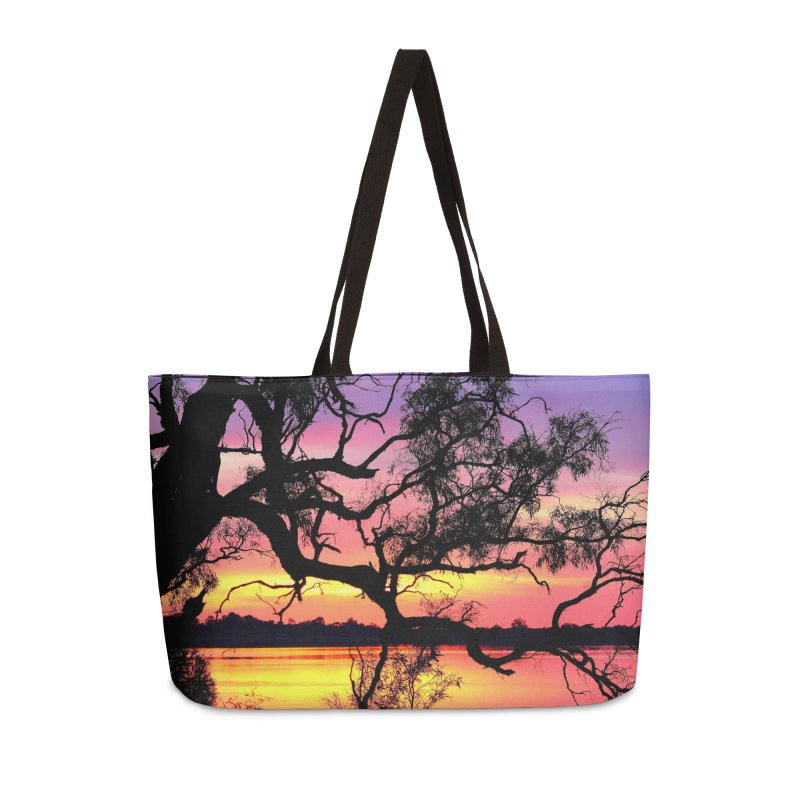 Lake Bonney Sunset Accessories Weekender Bag Bag by 3boysenberries