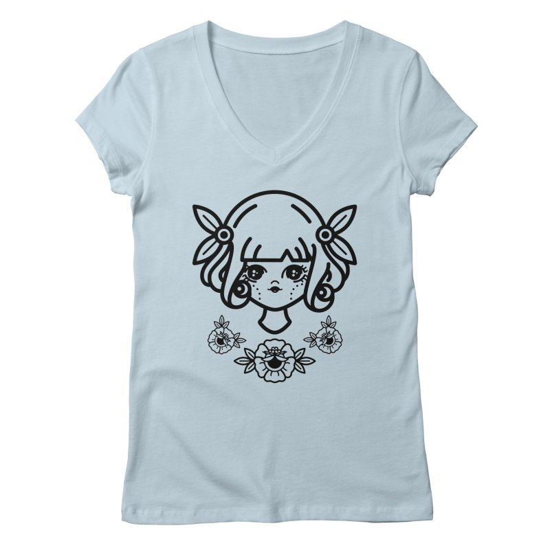 makoto girl Women's Regular V-Neck by Cristóbal Urrea