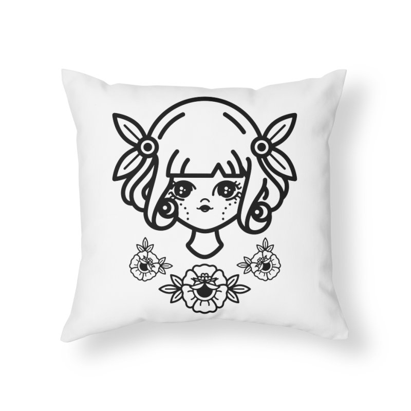 makoto girl Home Throw Pillow by Cristóbal Urrea
