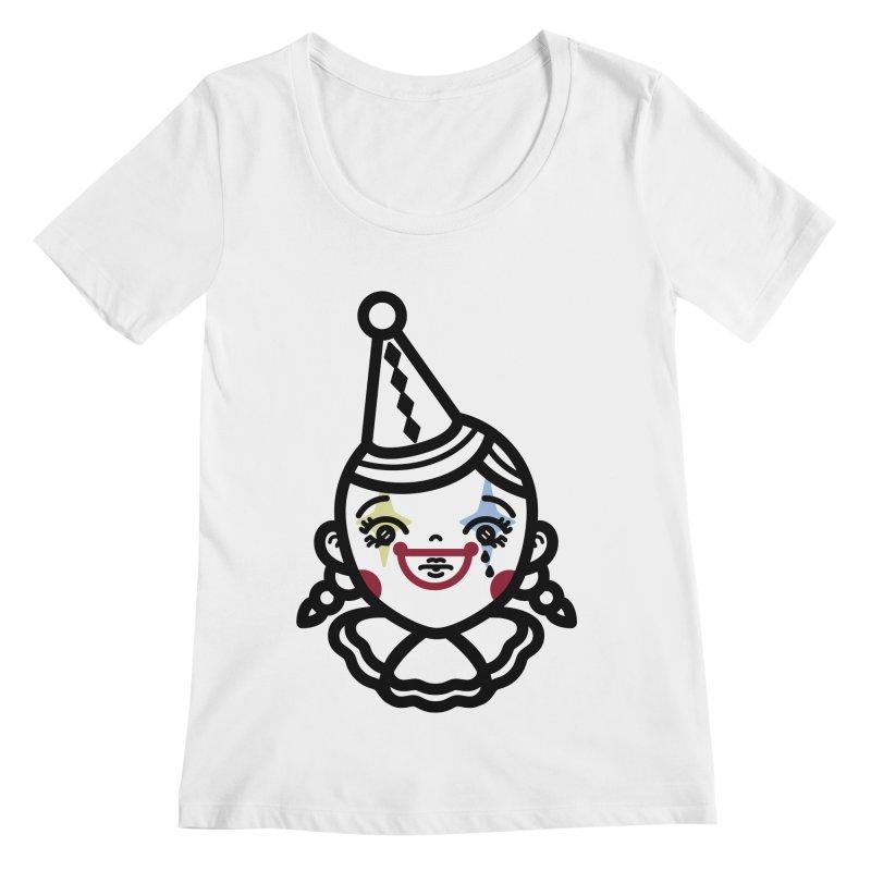 don't cry little clown girl Women's Regular Scoop Neck by Cristóbal Urrea