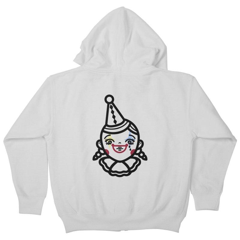 don't cry little clown girl Kids Zip-Up Hoody by 3lw's Artist Shop