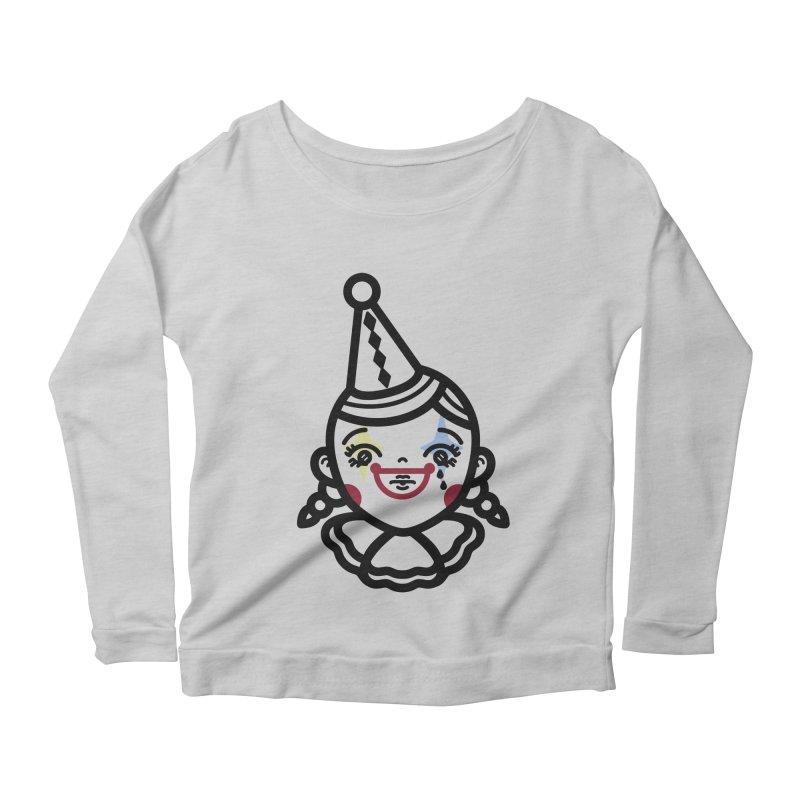 don't cry little clown girl Women's Scoop Neck Longsleeve T-Shirt by Cristóbal Urrea