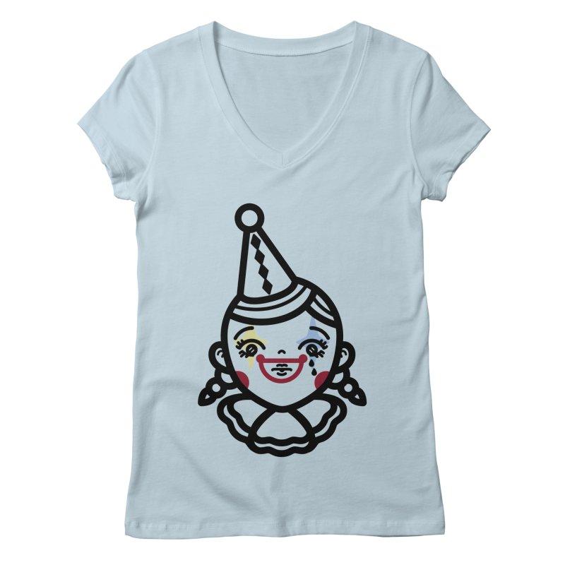 don't cry little clown girl Women's Regular V-Neck by Cristóbal Urrea