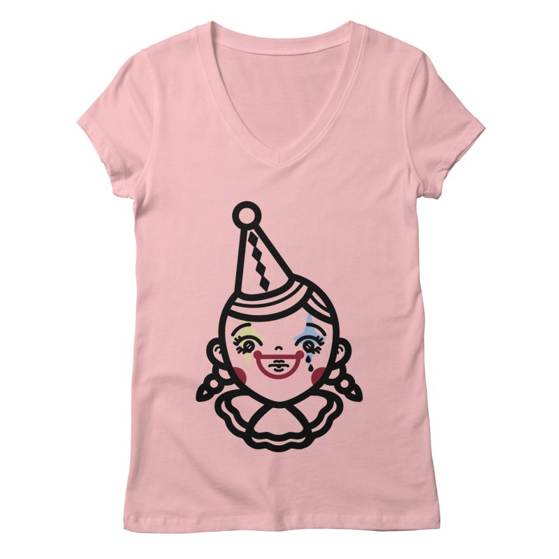 don't cry little clown girl Women's V-Neck by 3lw's Artist Shop