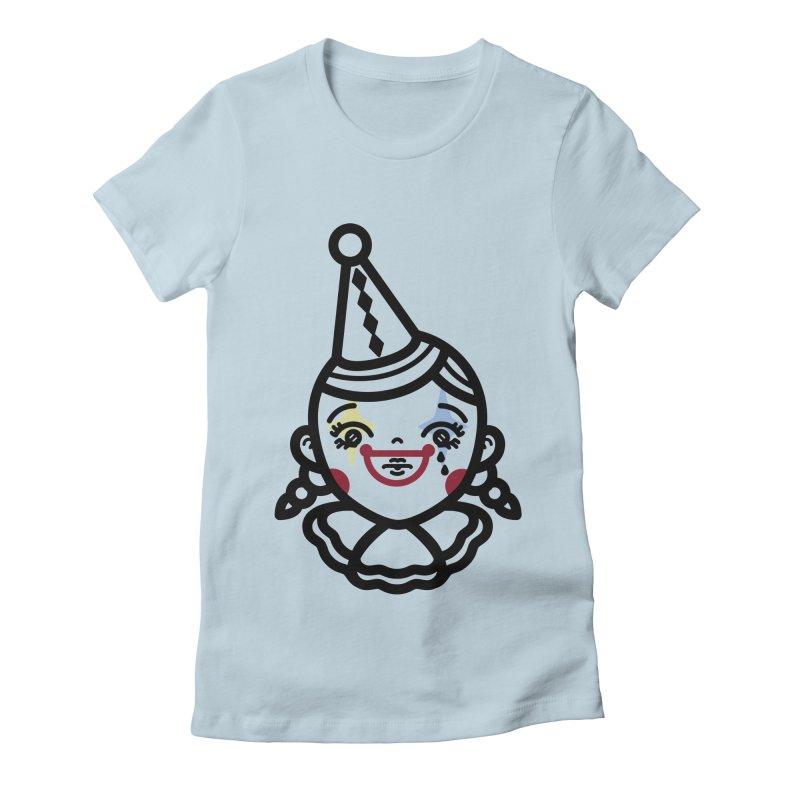 don't cry little clown girl Women's Fitted T-Shirt by Cristóbal Urrea