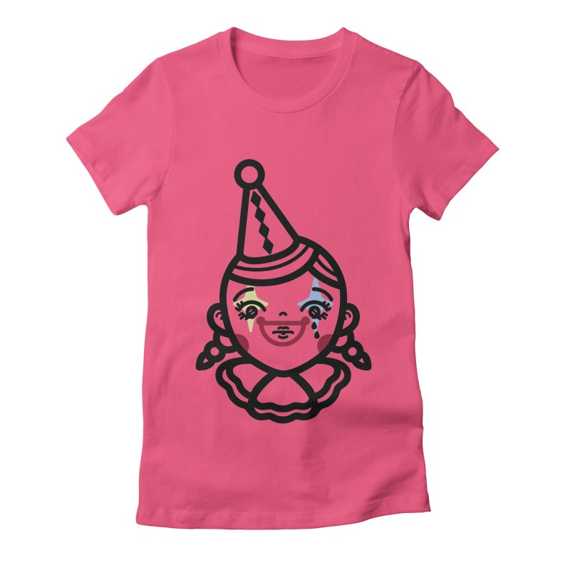 don't cry little clown girl Women's Fitted T-Shirt by Cristóbal Urrea
