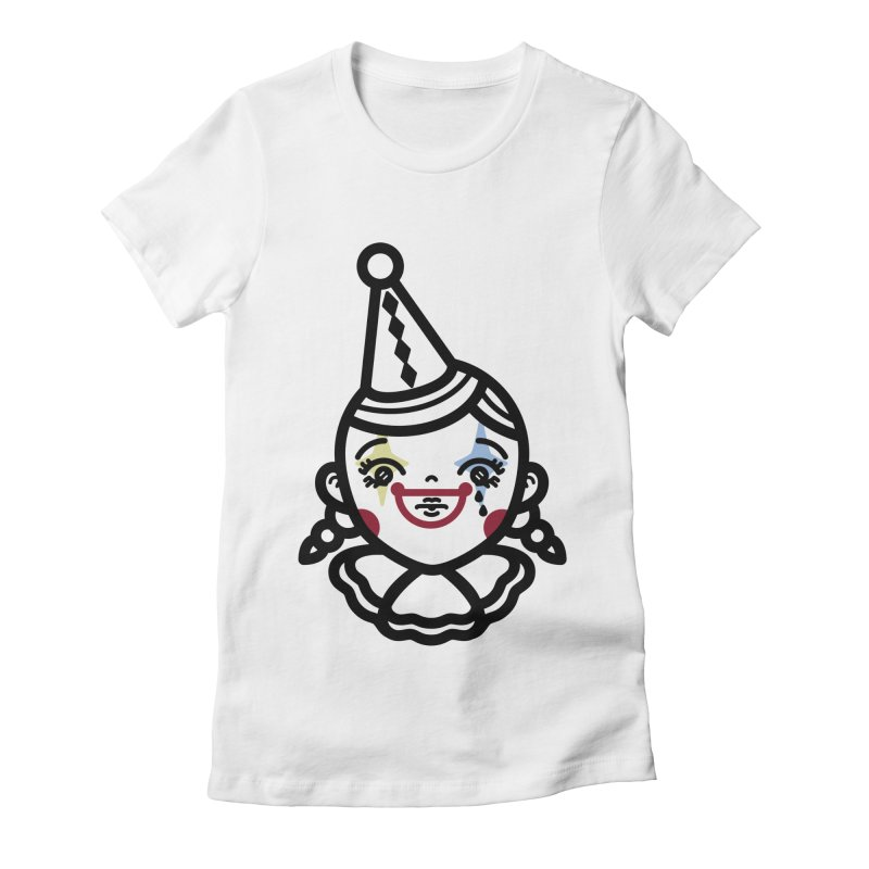 don't cry little clown girl Women's Fitted T-Shirt by 3lw's Artist Shop